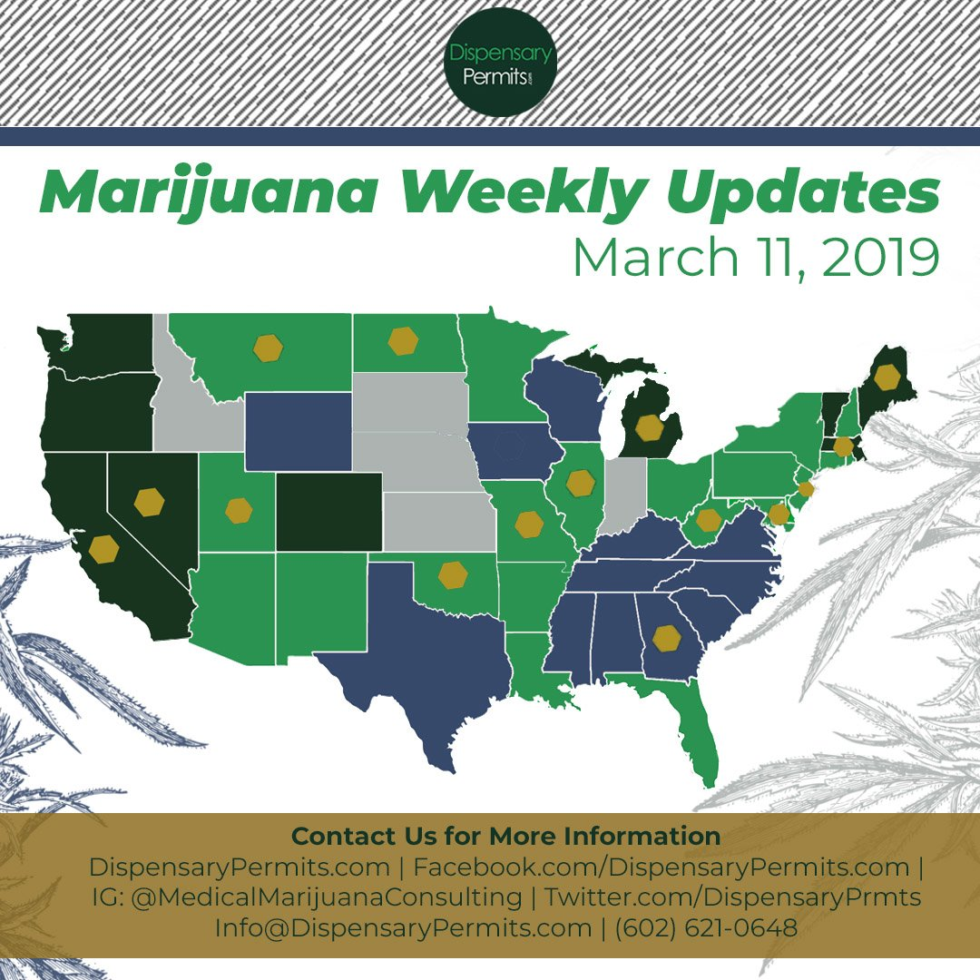 March 11th Marijuana Weekly Updates: States to Watch for Marijuana Legalization