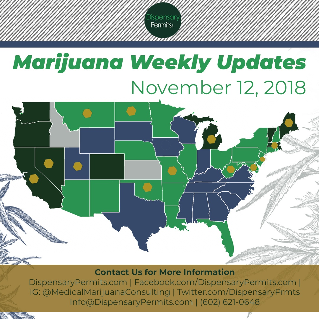 November 12th Marijuana Weekly Updates: States to Watch for Marijuana Legalization