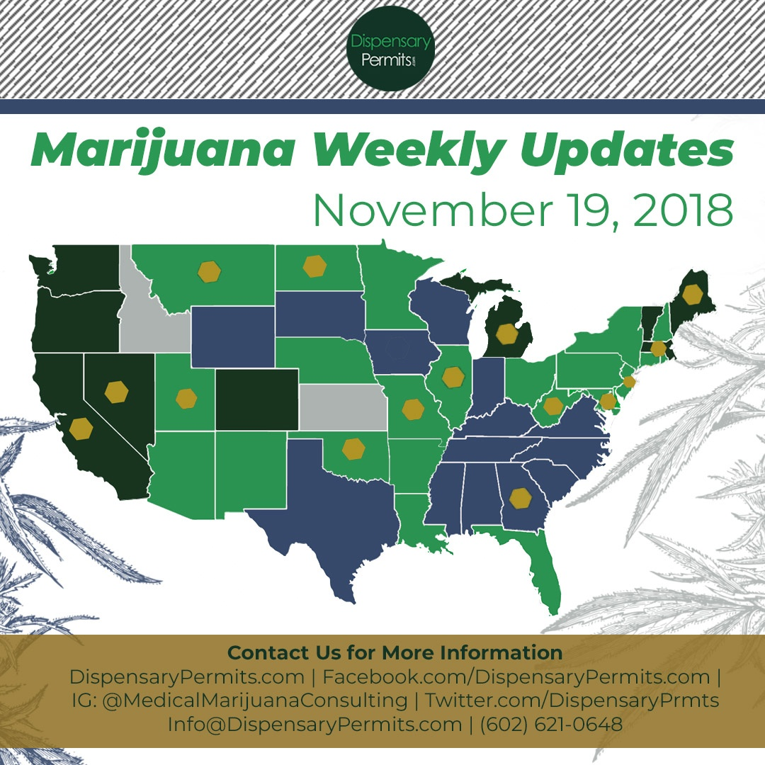 November 19th Marijuana Weekly Updates: States to Watch for Marijuana Legalization
