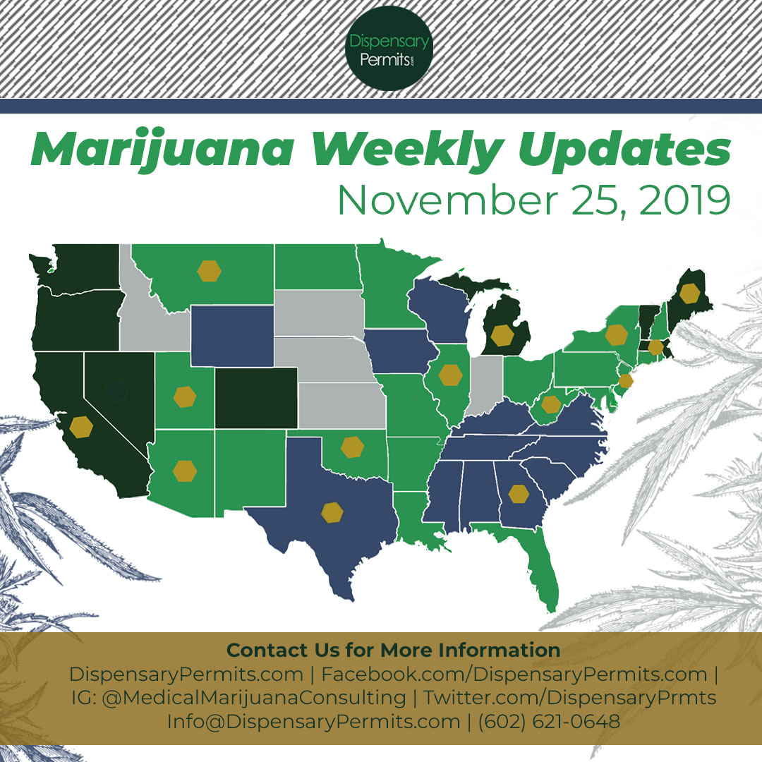 November 25th Marijuana Weekly Updates: States to Watch for Marijuana Legalization