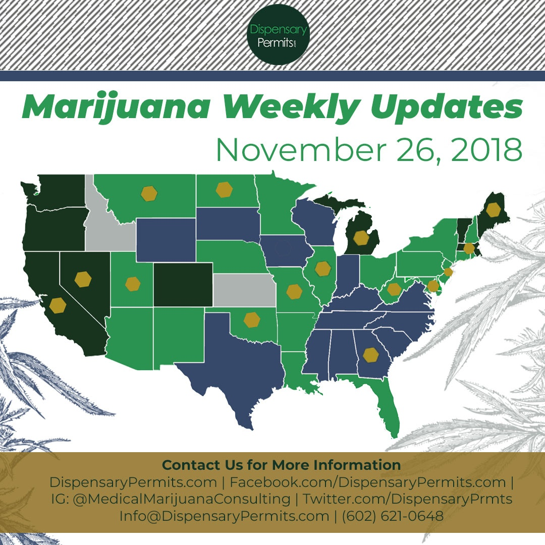 November 26th Marijuana Weekly Updates: States to Watch for Marijuana Legalization