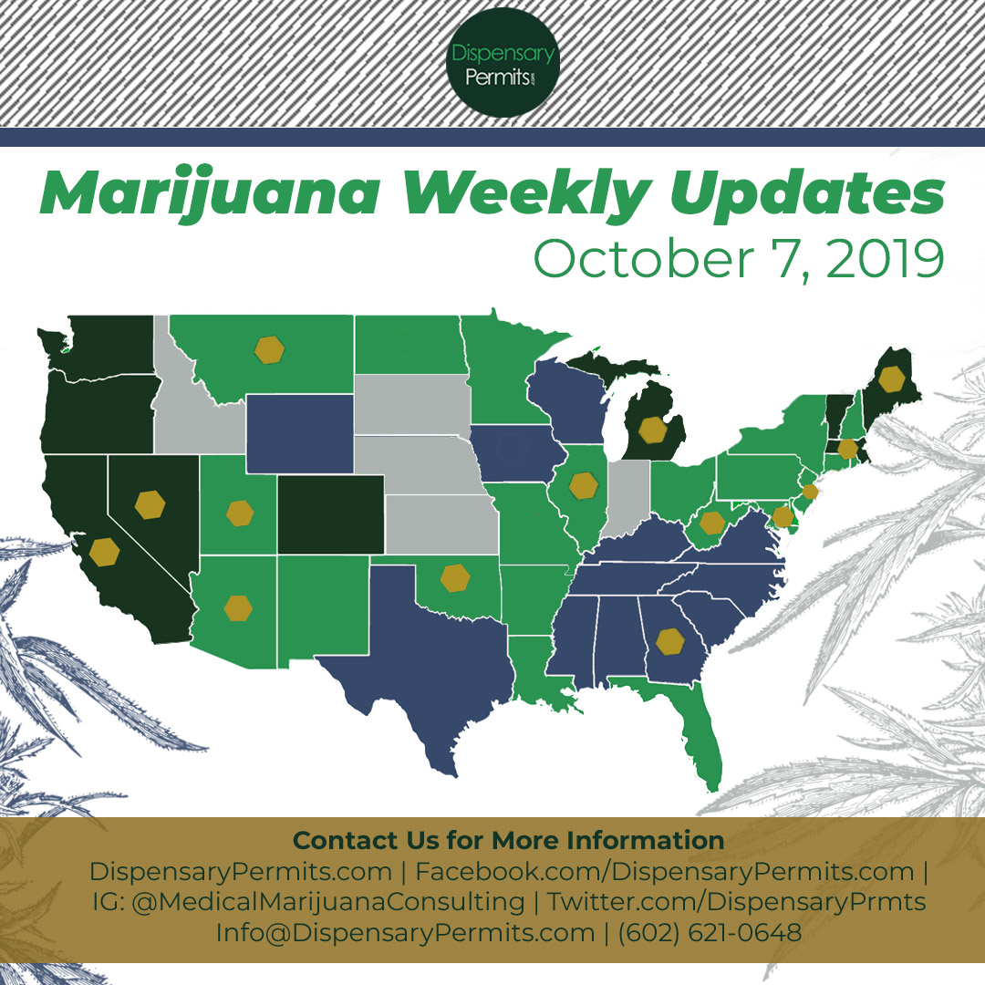 October 7th Marijuana Weekly Updates: States to Watch for Marijuana Legalization