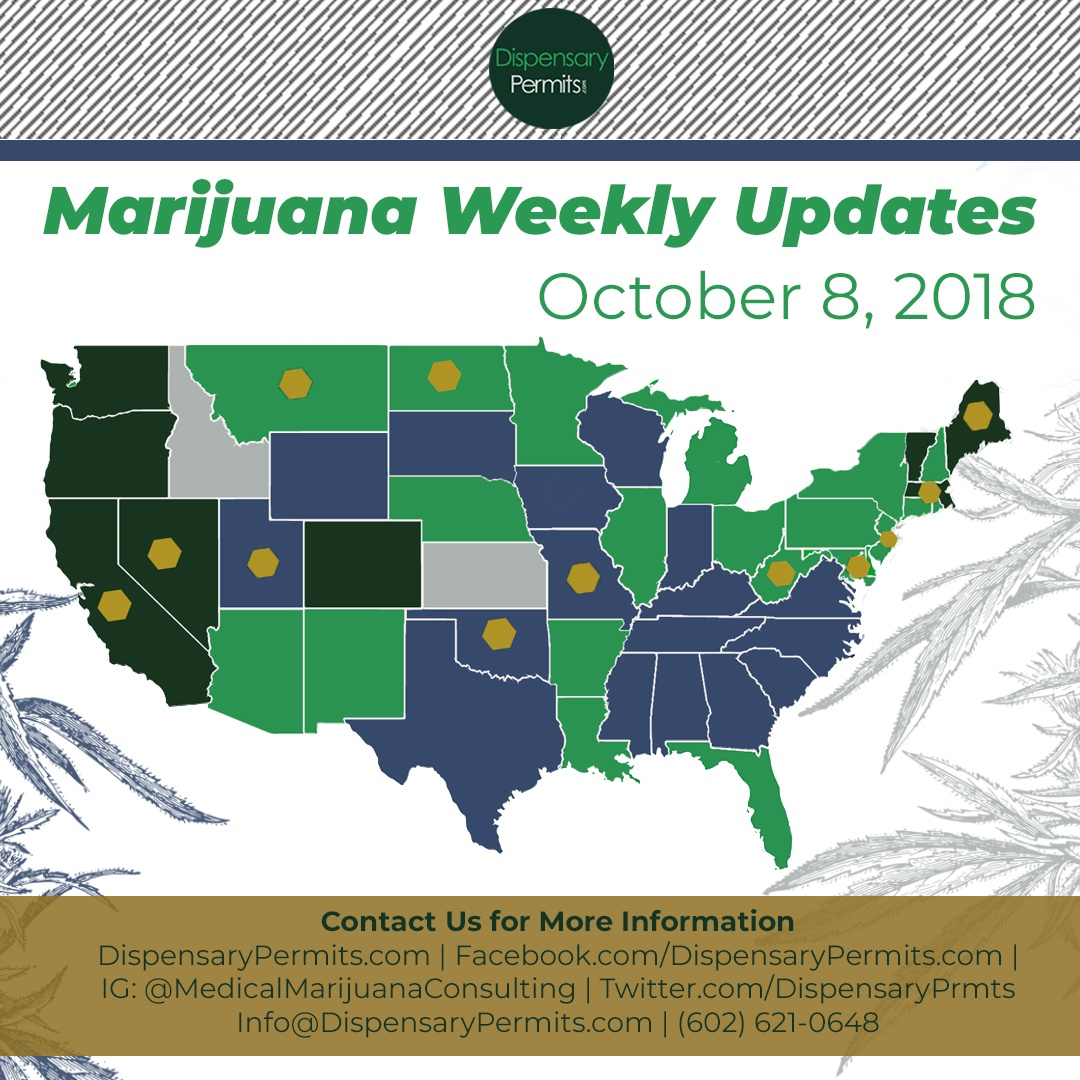 October 8th Marijuana Weekly Updates: States to Watch for Marijuana Legalization