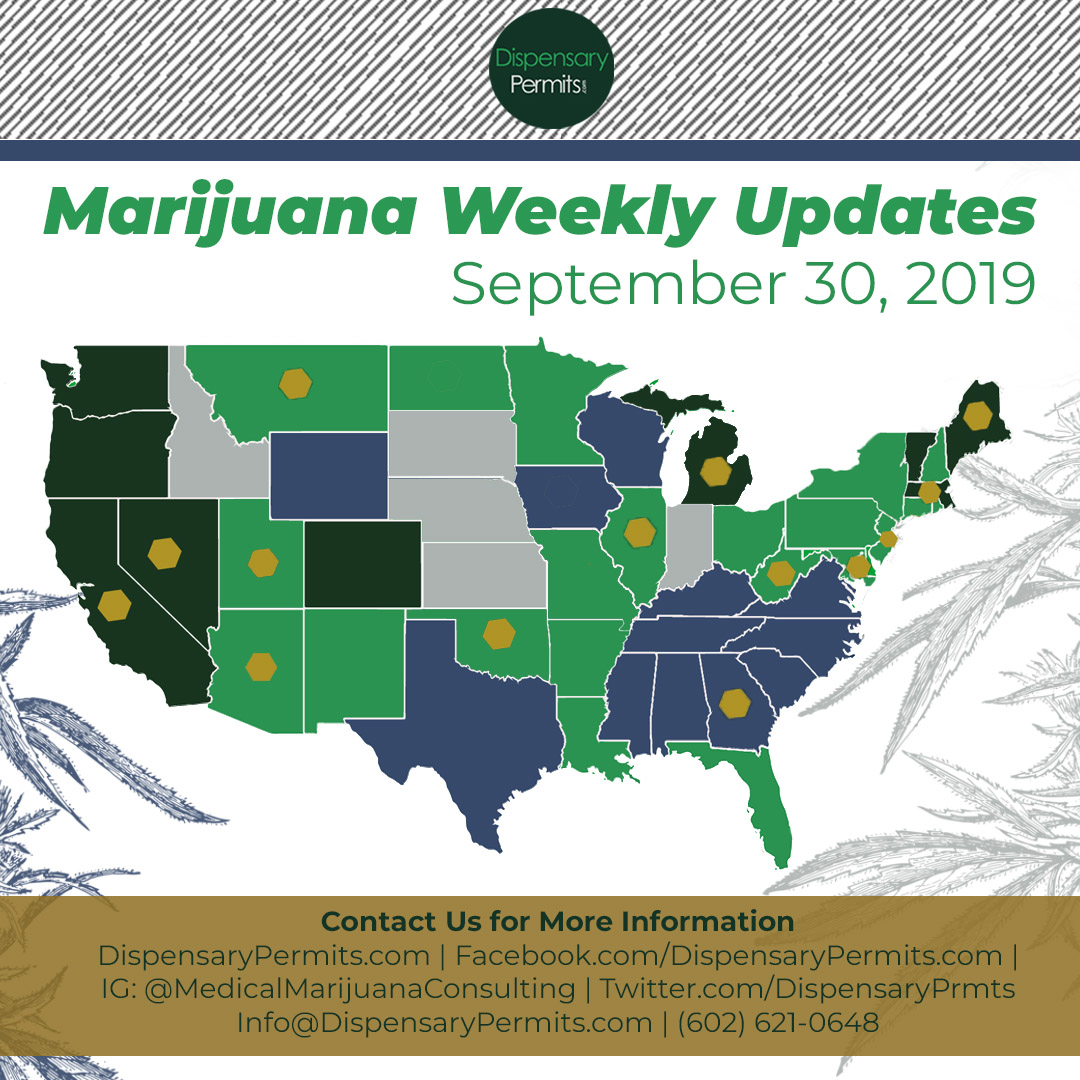 September 30th Marijuana Weekly Updates: States to Watch for Marijuana Legalization