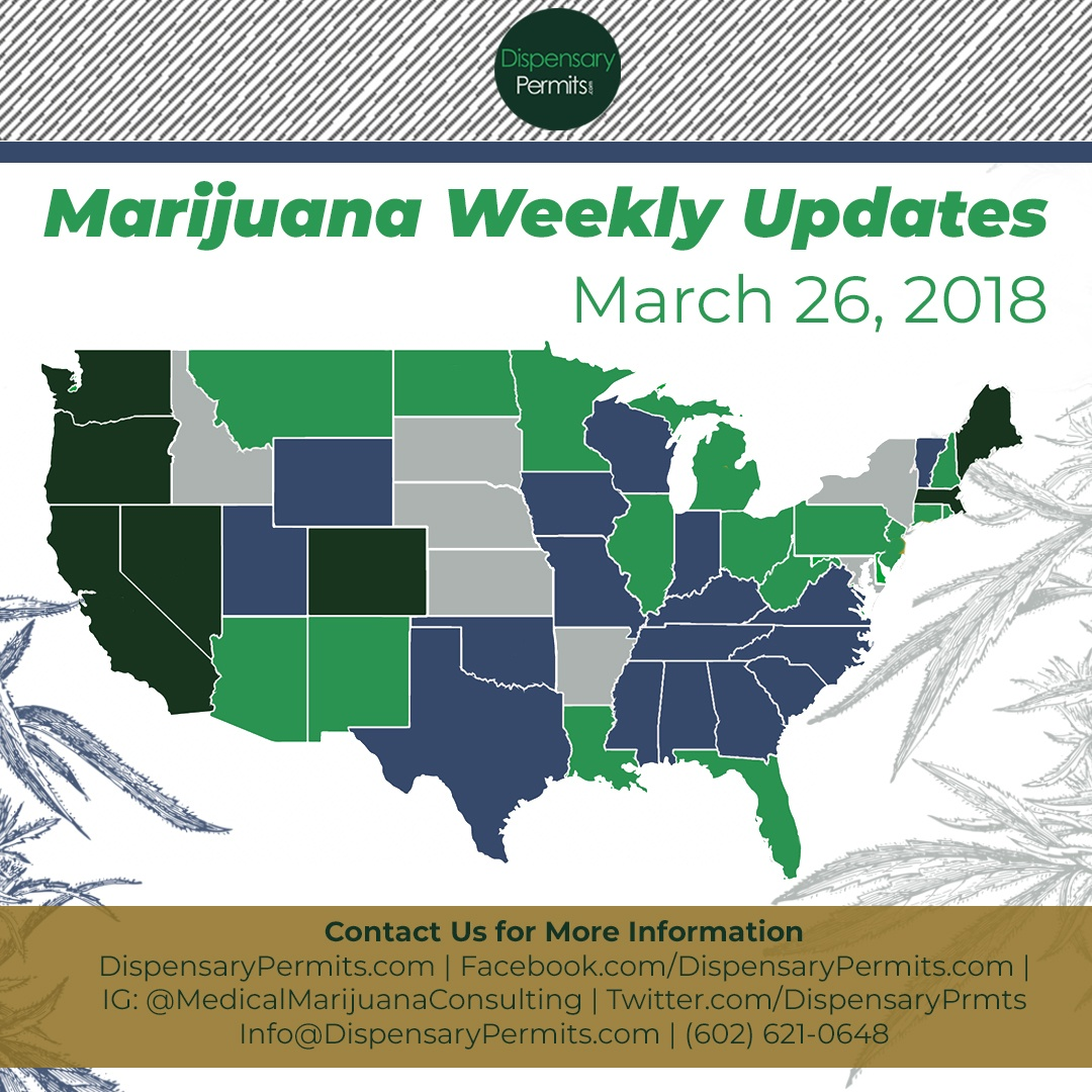 March 26th Marijuana Weekly Updates: States to Watch for Marijuana Legalization